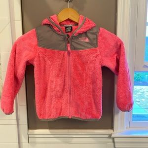 Pink and gray north face zip up